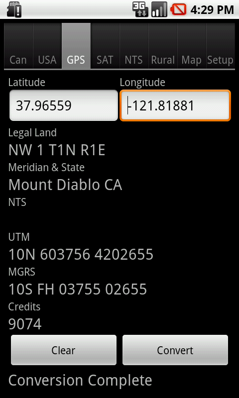 Android: Convert Latitude and Longitude to US Legal Land Description