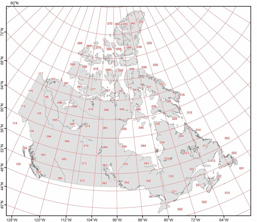 Map Of NTS Grid Zones Canada With Latitude And Longitude