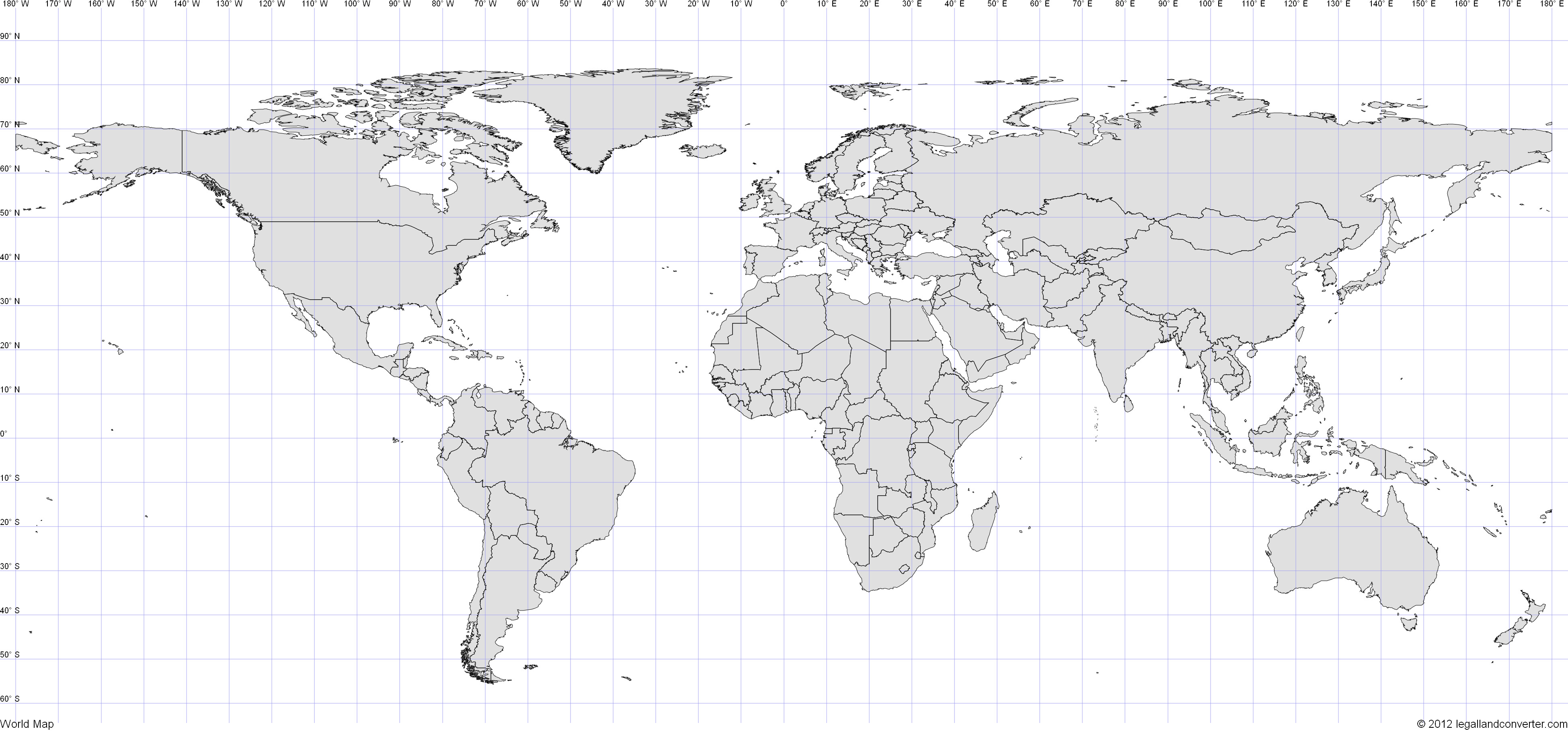 World Map with Latitude and Longitude